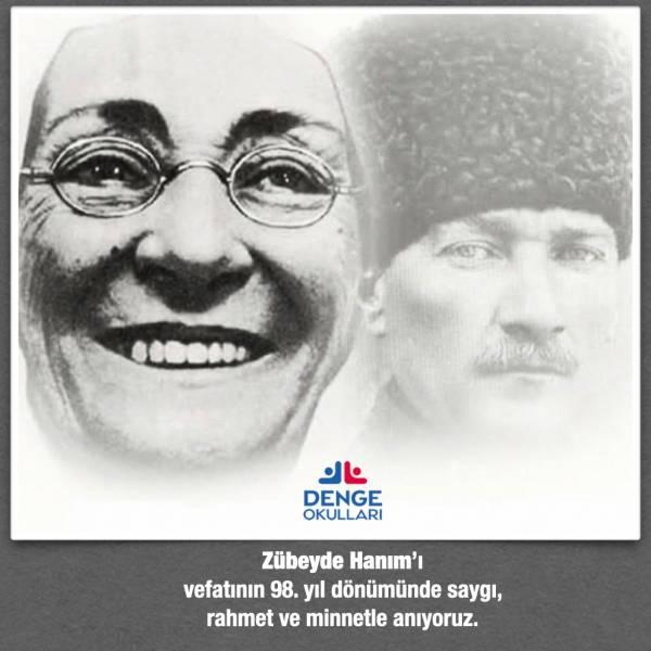 Cumhuriyetimizin kurucusu Ulu Önderimiz Gazi Mustafa Kemal Atatürk'ün değerli annesi Zübeyde Hanım'ı, vefatının 98. yılında rahmet ve minnetle anıyoruz.